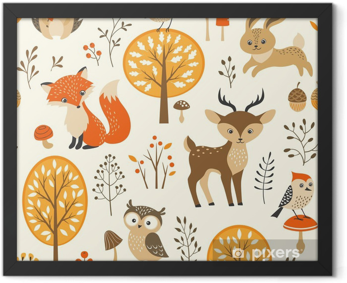 Autumn forest seamless pattern with cute animals Framed Poster - Kids room