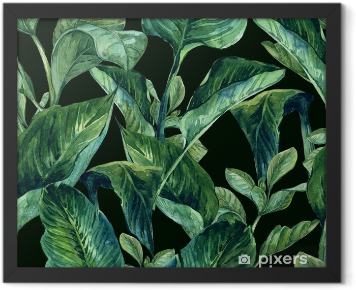 Watercolor Seamless Background with Tropical Leaves Framed Poster - Flowers and plants