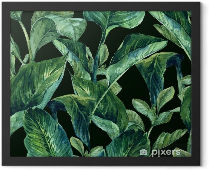 Poster en cadre Aquarelle Seamless avec des feuilles tropicales - Fleurs et plantes