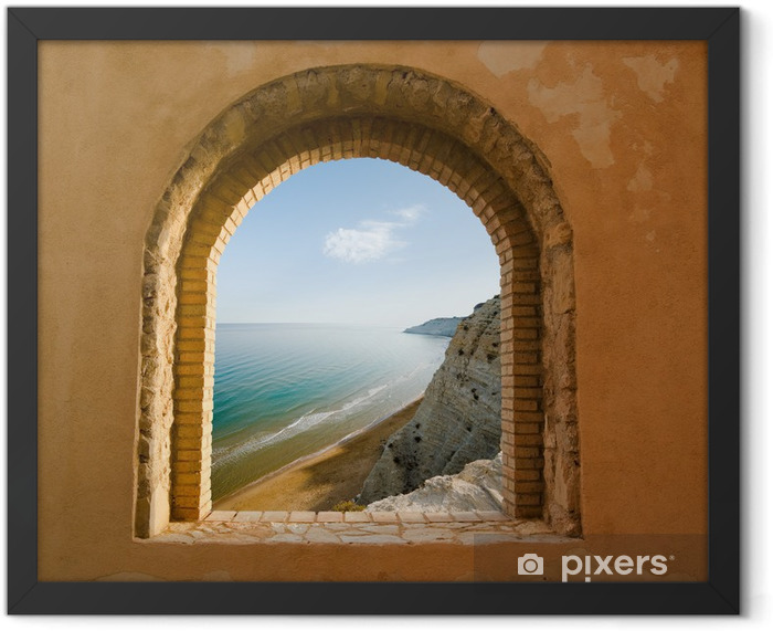 arched window on the coastal landscape of a bay Framed Poster - Themes