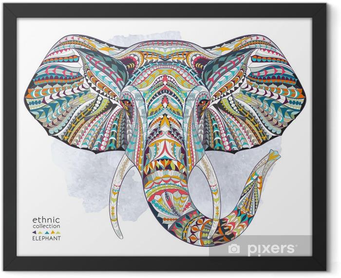 Plakat w ramie Etnicznych wzorzyste głowa słonia na tle folwark / Afryka / indian design / totem / tatuaż. Użyj do druku, plakaty, koszulki. - Ssaki
