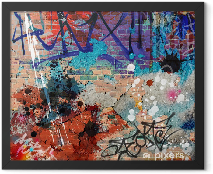 Poster en cadre A messy graffiti wall background - Thèmes