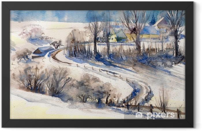 Plakat w ramie Zimowy krajobraz z drogi do village.Picture stworzony z akwarelami. - Krajobrazy