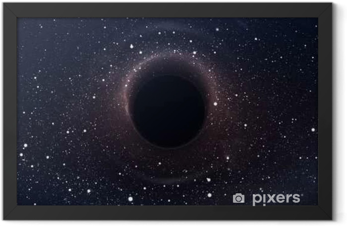 Black hole in deep space, glowing mysterious universe. Elements of this image furnished by NASA Framed Poster - Graphic Resources