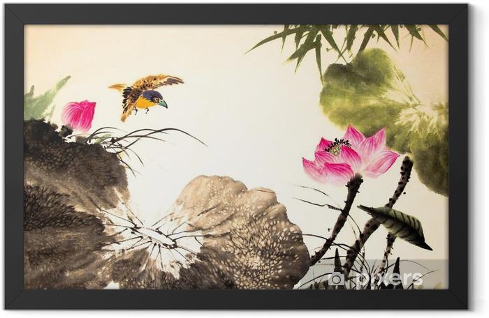 Plakat w ramie Tusz lotosu malowanie ręcznie rysowane - Rośliny i kwiaty