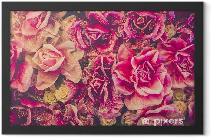 Plakat w ramie Bukiet róż tła. Filtr Retro - Rośliny i kwiaty