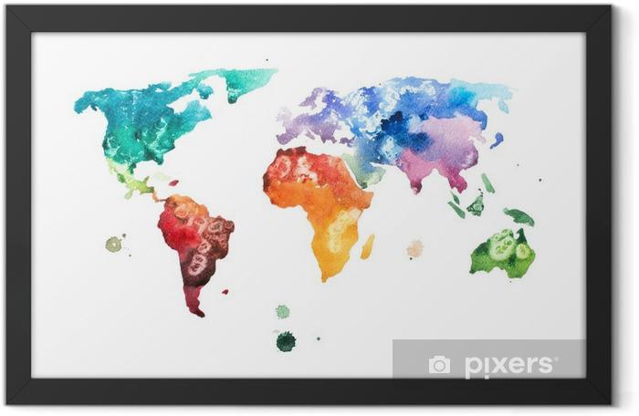 Plakat w ramie Ręcznie rysowane akwarela akwarela ilustracja mapa świata. - Hobby i rozrywka
