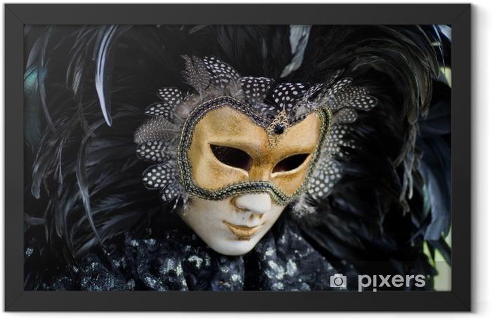 Plakat w ramie Wenecja karnawał kostium maska - Rozrywka