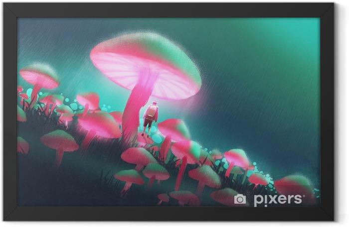 Plakat w ramie Człowiek wycieczkowicz w lesie duże grzyby w deszczową noc, ilustracja malarstwo - Hobby i rozrywka