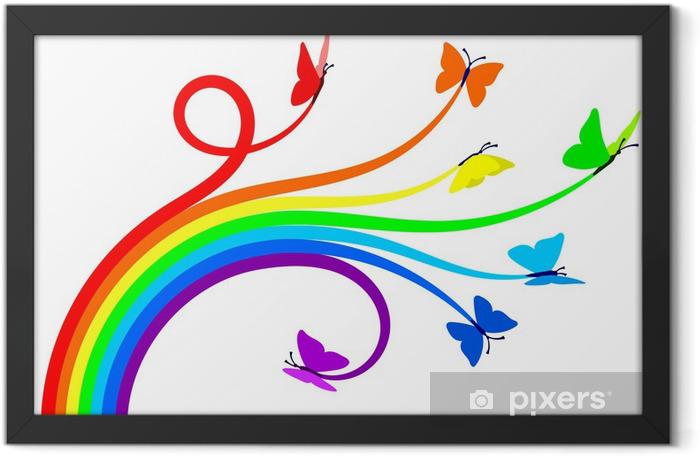 Rainbow butterflies Framed Poster - Wall decals