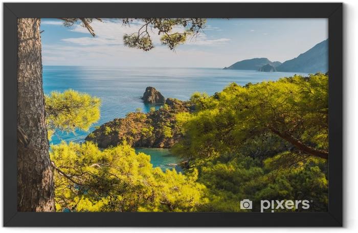 Beach at Mediterranean sea. Antalya, Turkey Framed Poster - Landscapes