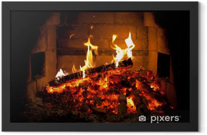 Poster en cadre Feu brûlant dans la cheminée - Textures