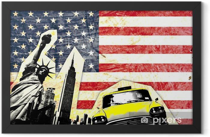 Plakat w ramie Amerykańska flaga z Statua Wolności Yellow Cab -