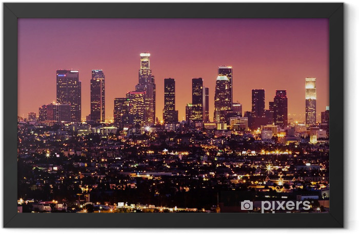downtown los angeles skyline at night, california Framed Poster - Themes