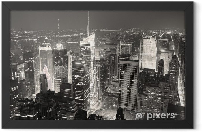 New York City Manhattan Times Square skyline aerial view panoram Framed Poster - iStaging