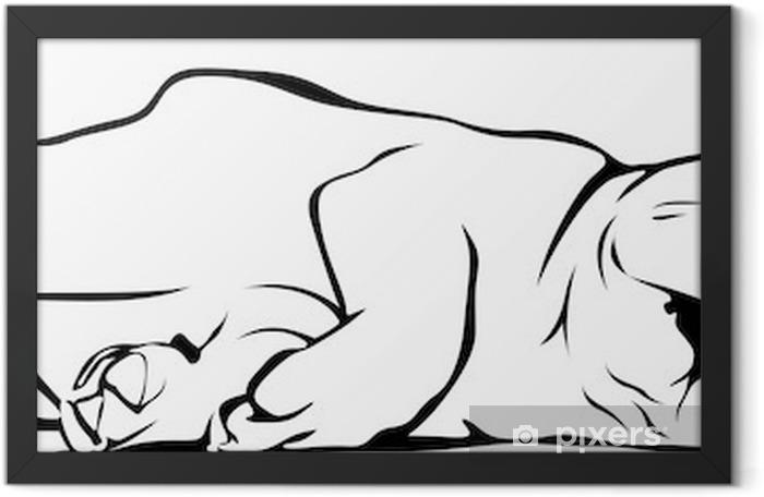 Plakat w ramie Buldog francuski dziecko śpi - Naklejki na ścianę