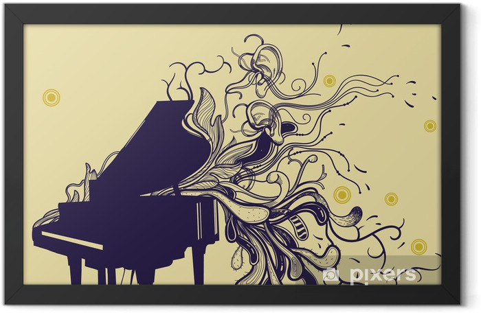 vector grand piano and hand drawn abstract plants Framed Poster - Piano