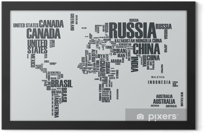 Plakat w ramie Mapa świata: kontury kraju składa się ze słów - Dla nastolatka