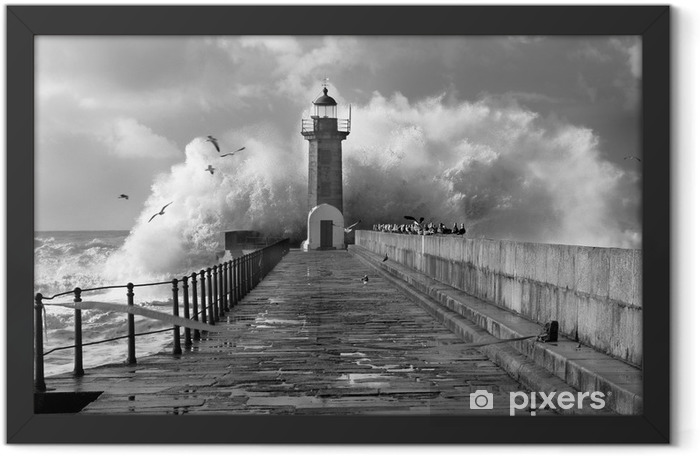 Plakat w ramie Lighthouse, Foz do Douro, Portugalia - Latarnia morska