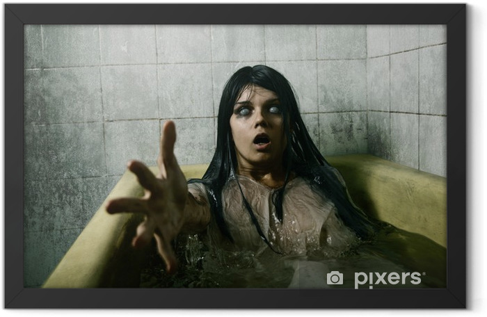 Scary girl in bath Framed Poster - Themes