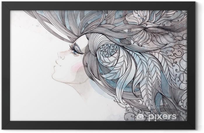 Plakat w ramie Włosy ozdobną z liści - Moda