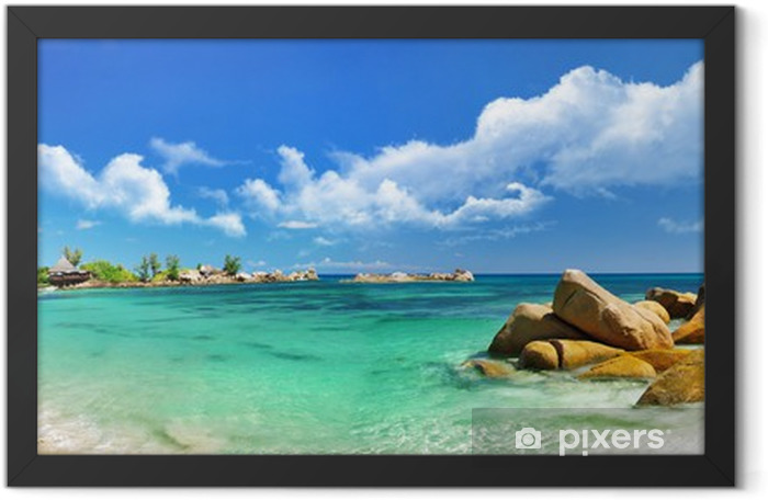 Seychelles , beach panorama Framed Poster - Themes
