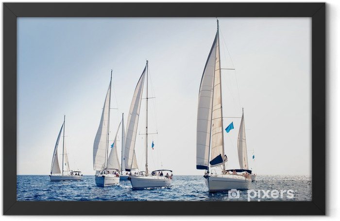 Sailing ship yachts with white sails Framed Poster - Boats