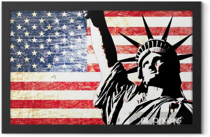 Plakat w ramie Flaga USA Statua Wolności -