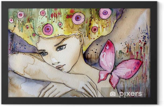 Plakat w ramie Piękna dziewczyna z motylem -