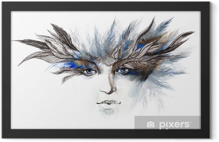 Poster en cadre Plumes autour des yeux (série C) - Mode