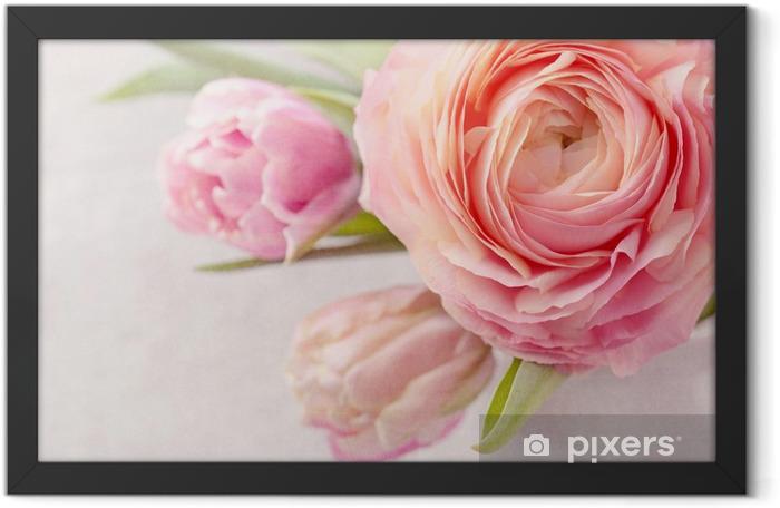 Plakat w ramie Różowe kwiaty - Tematy