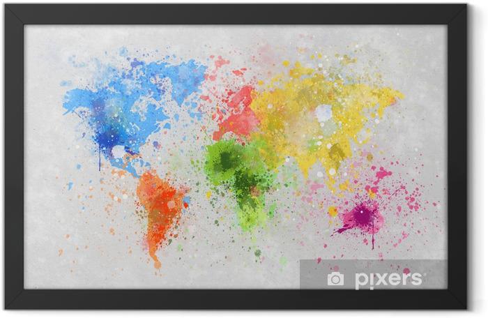 Poster en cadre Carte du monde peinture -