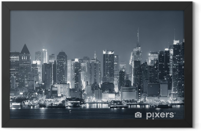 New York City nigth black and white Framed Poster - Styles