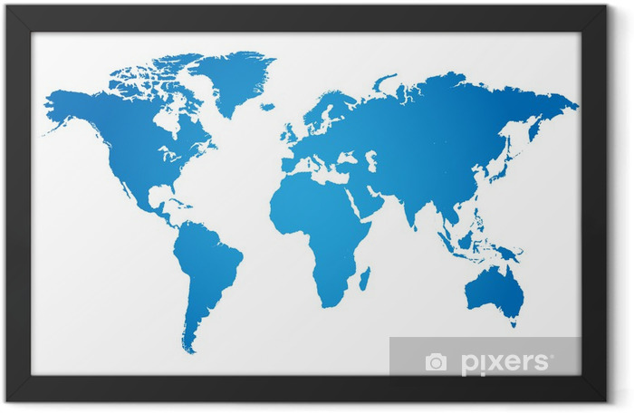 World Map Illustration Framed Poster - Wall decals