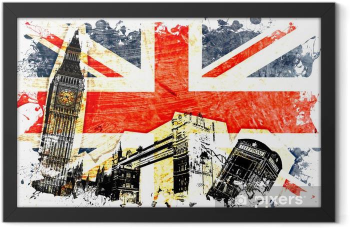Plakat w ramie English flag DECOUPE -