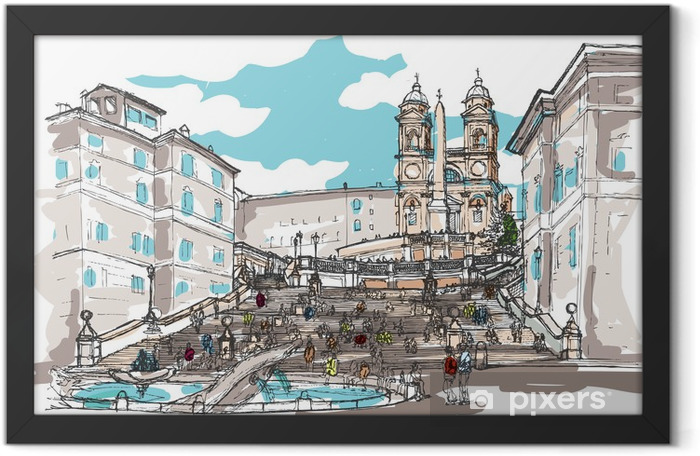 Watercolor Sketch of Spanish Steps, Rome, Italy Framed Poster - Themes