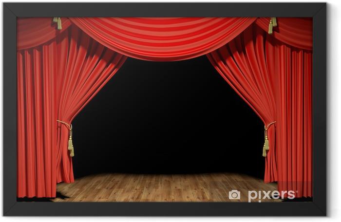 Red stage theater velvet drapes Framed Poster - iStaging