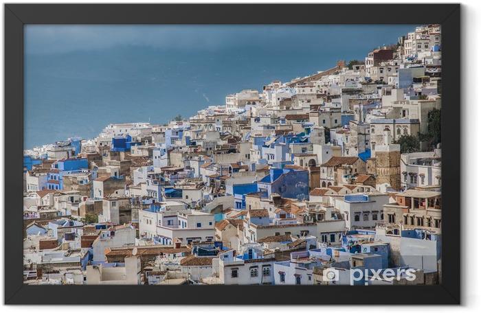 Poster en cadre Chefchaouen bleu ville vue générale au Maroc - Afrique