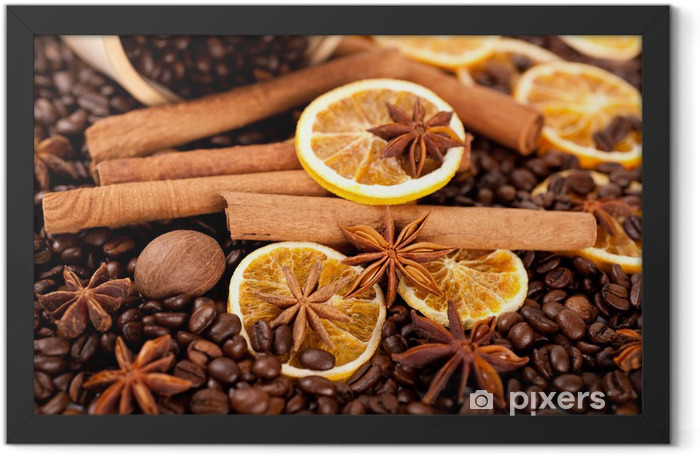 Coffee beans, cinnamon sticks and star anise Framed Poster - Themes