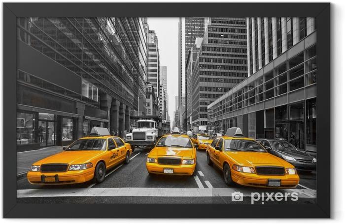 Plakat w ramie Tyellow taksówki w Nowym Jorku, USA. -
