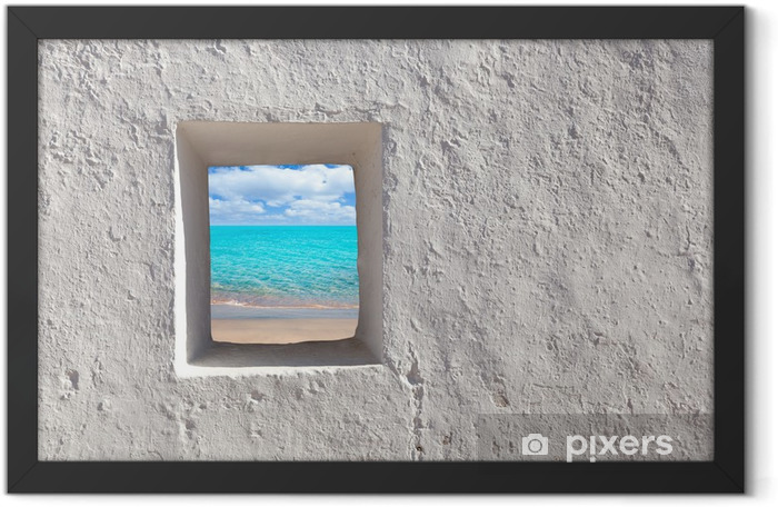 Balearic islands idyllic turquoise beach from house window Framed Poster - iStaging