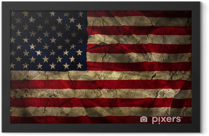 Grunge American flag background Framed Poster - iStaging