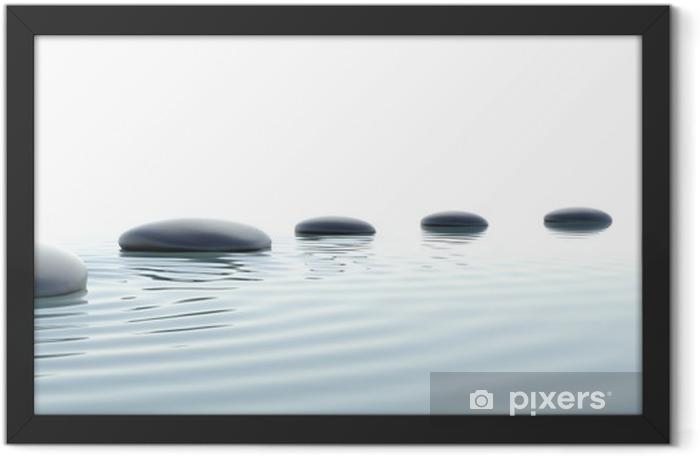 Plakat w ramie Zen ścieżka z kamieni w formacie panoramicznym - Style