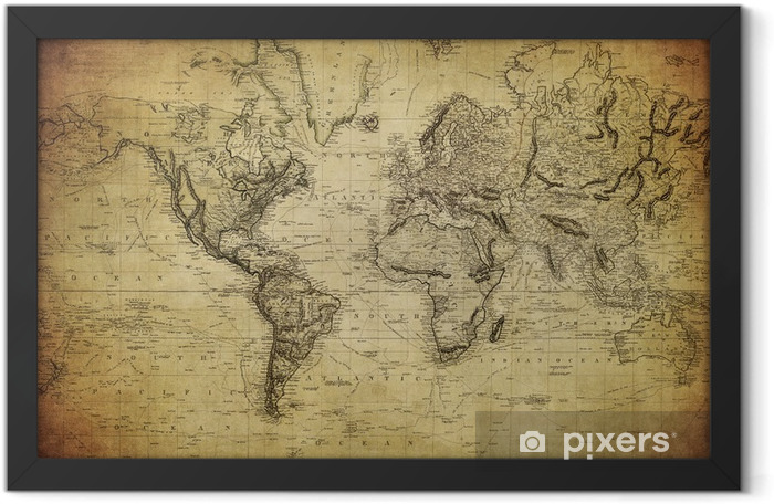 Ingelijste Poster Vintage kaart van de wereld 1814 .. - Thema's