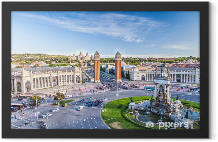 view of the center of Barcelona. Spain Framed Poster - Themes