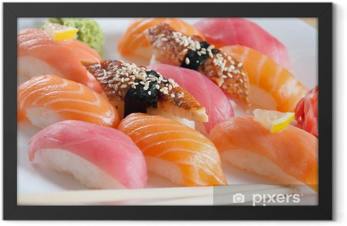 Sushi set on a plate, close-up, studio shot Framed Poster - Sushi