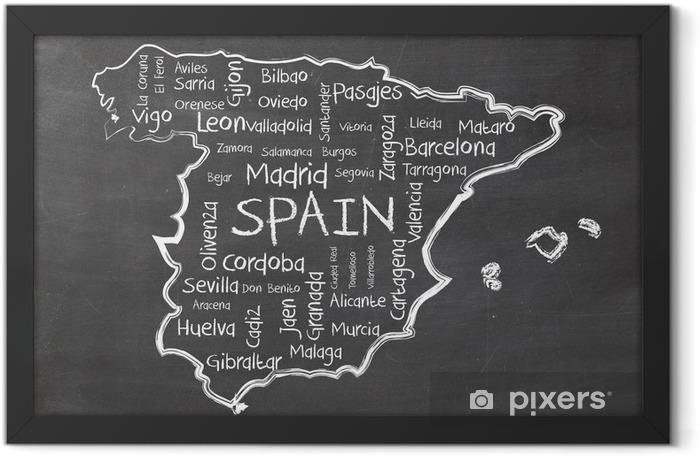 Plakat w ramie Hiszpania na tablicy - Wakacje