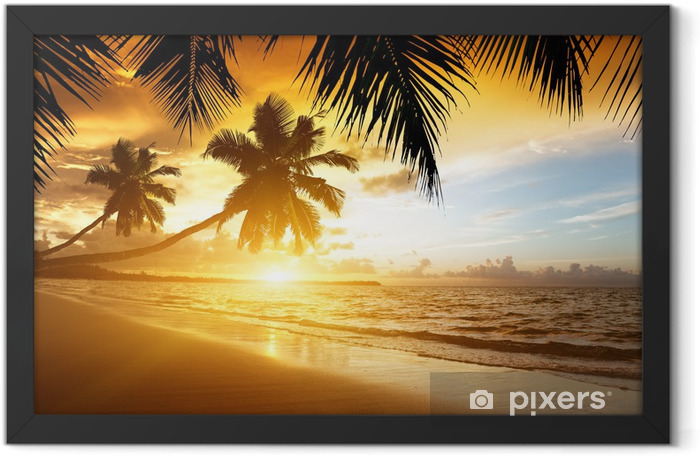 sunset on the Caribbean sea Framed Poster - Palm trees