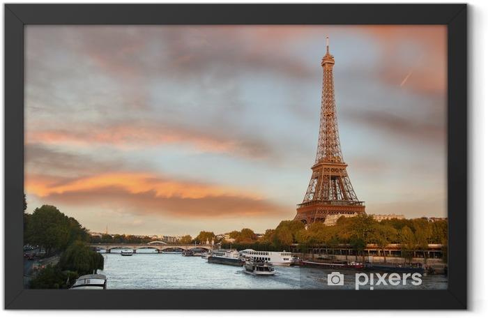 Eiffel Tower with boats on Siene in Paris, France Framed Poster - Themes
