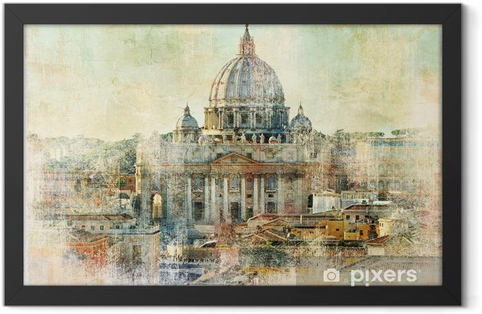 Plakat w ramie St Pietro, Watykan - grafika w stylu malarstwa - Tematy